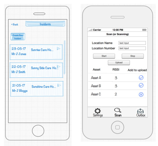 Example of app wireframe for Hampshire and Dorset App Development in Hampshire and Dorset